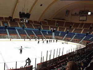 Jr. Bears practice under the new roof and ceiling at Hersheypark Arena.
